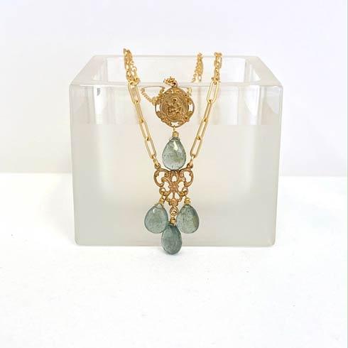 $240.00 St. Joseph and Moss Aquamarine 2 Strand Necklace
