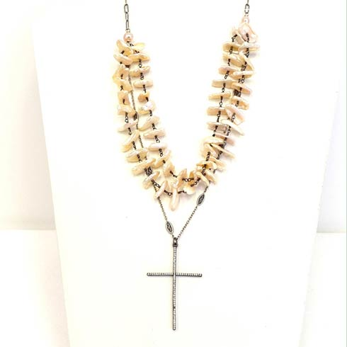 $310.00 Cubic Zirconia Cross with Pink Heishi Pearl 3 Strand Necklace