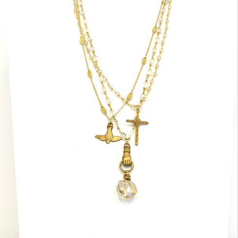 $198.00 Dove of Peace and Moonstone 3 Strand Necklace