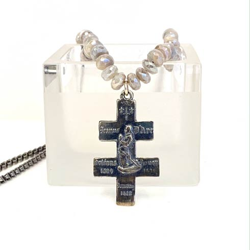 $298.00 Sterling Silver Joan of Arc and Moonstone Necklace