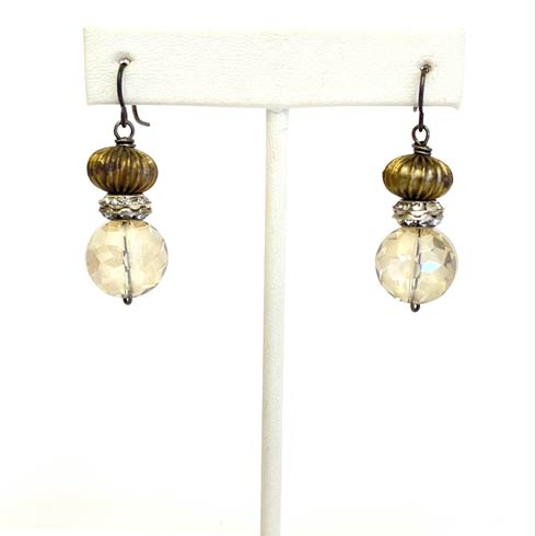 $98.00 Fluted bead and Czech Bead Earrings