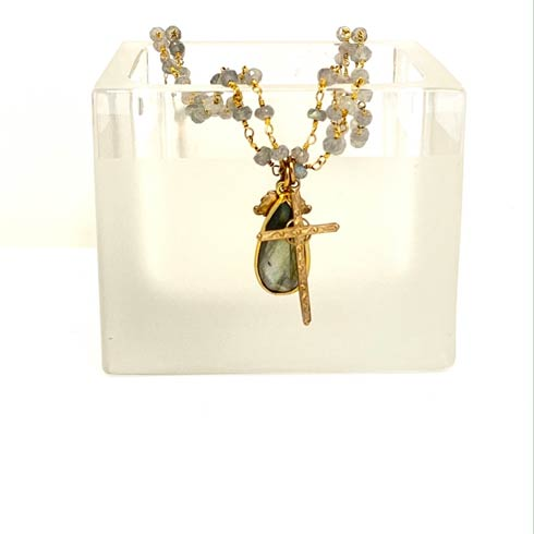 $236.00 Labradorite with Leaf and Cross 2 Strand Rosary Necklace