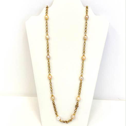$310.00 Bronze Chain with Pink Pearl Stations Necklace