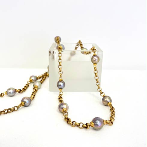 $330.00 Bronze Chain with Silver Pearl Stations Necklace