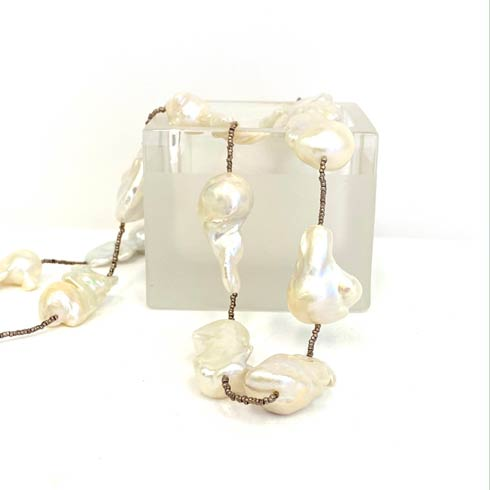 $330.00 Large Wild Pearls with Silver Heishi Beads Necklace