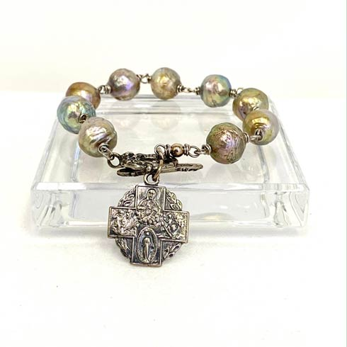$198.00 Sterling Silver 4 Way Cross and Ming Pearl Bracelet