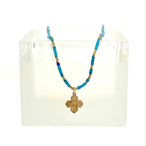 $132.00 Tiny 4 Way Cross on African Heishi and Turquoise Chain