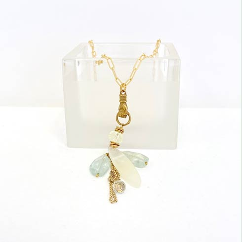 $176.00 Aquamarine and Moonstone Cluster Necklace