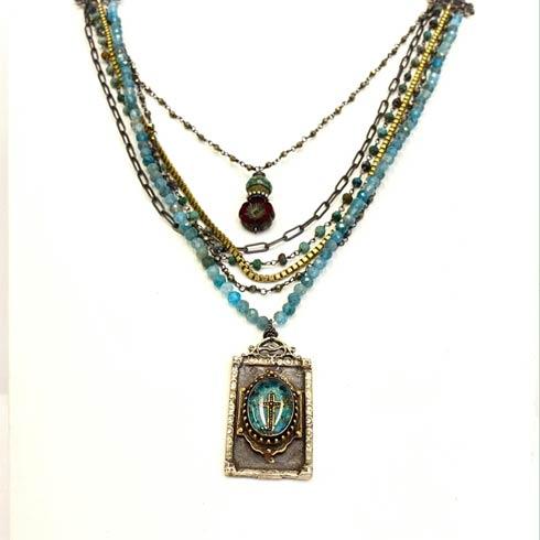 $397.00 Reliquary and Blue Quartz 3 Strand Necklace
