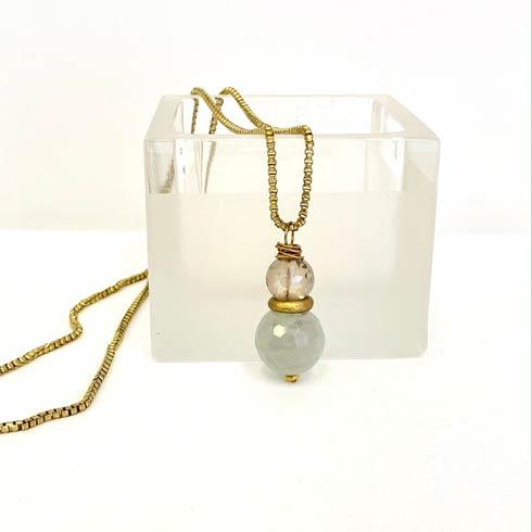 $98.00 Green Quartz and Czech Bead Necklace