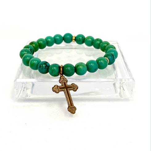 $65.00 Jasper and Bronze Cross Bracelet