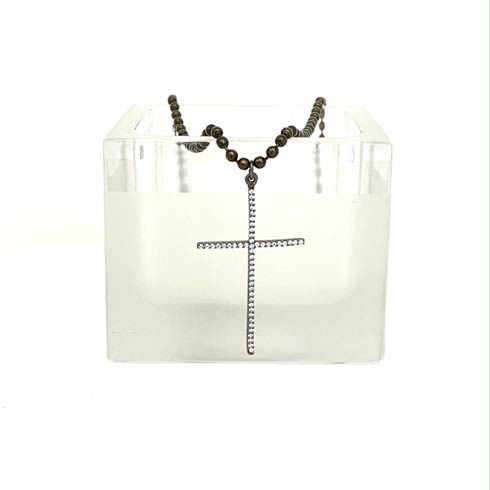 $127.00 Cubic Zirconia Cross and BB Chain Necklace