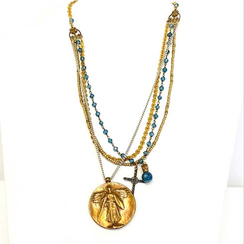 $299.00 Victory Medal and Blue Quartz Necklace