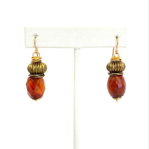 $84.00 Carnelian and Bronze Bead Earrings
