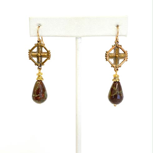 $110.00 Jasper and Celtic Cross Earrings