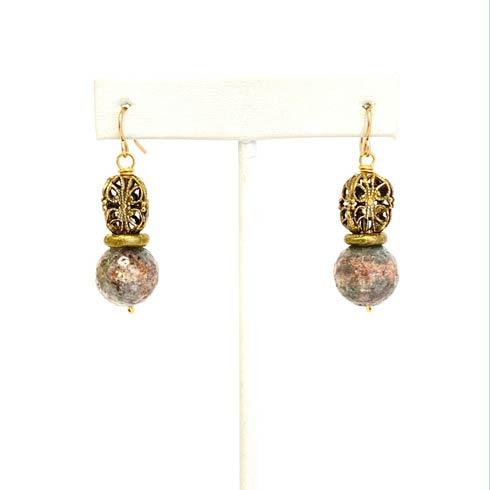 $93.00 Green Opal and Filigree Bead Earrings