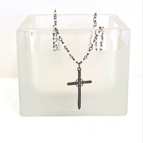 $128.00 Sterling Silver Cross on Dark Chain and Pearl Rosary Necklace