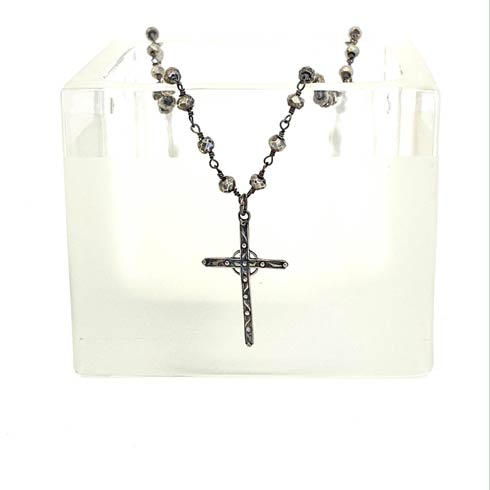 $128.00 Sterling Silver Cross on Silver Pyrite Chain Necklace