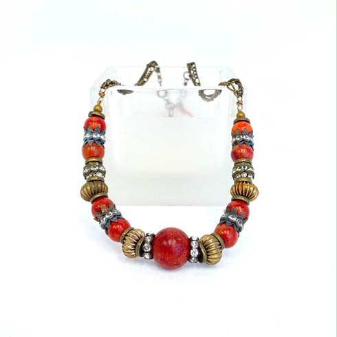 $195.00 Apple Coral and Rhinestone Necklace