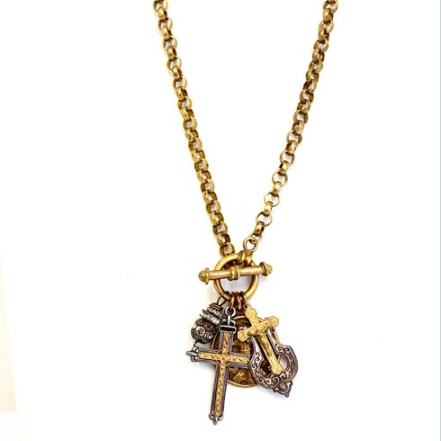 $323.00 St. Francis and Sterling Silver Double Cross Necklace