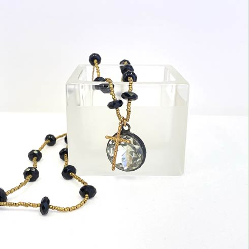 $270.00 Crystal Pendant and Onyx and Gold Heishi Chain Necklace
