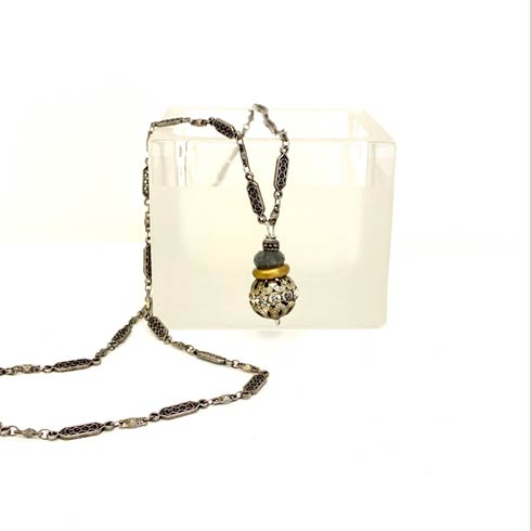 $128.00 Labradorite and Rhinestone Necklace