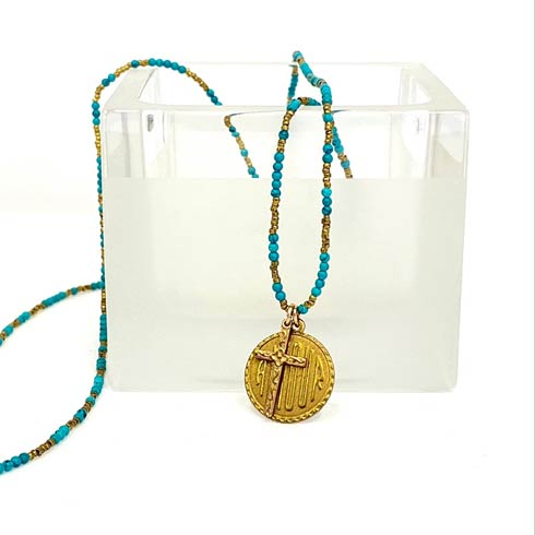 $174.00 Amour Medal with Cross Necklace