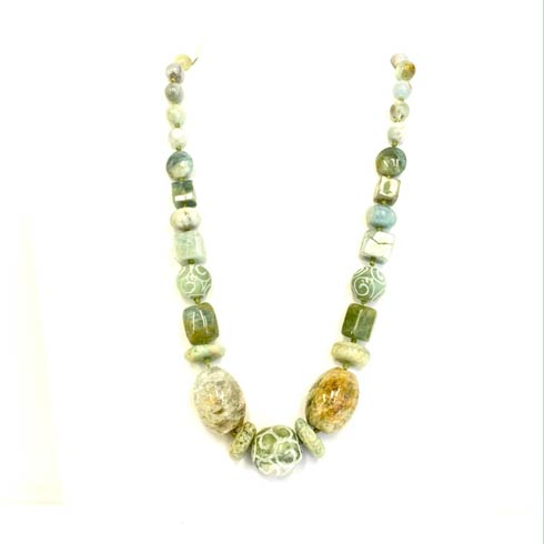 $210.00 Aquamarine and Carved Jade Necklace
