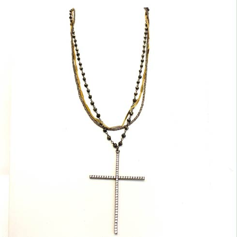 $245.00 Cubic Zirconia Cross on Pyrite Rosary Necklace
