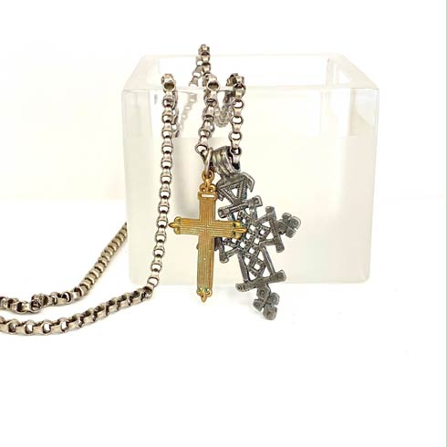 $155.00 Coptic Cross and Bronze Cross on Box Chain Necklace