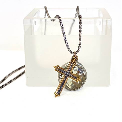 $198.00 Vintage Crystal with Sterling and Bronze Cross Necklace