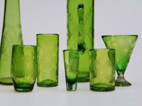 Rose Ann Hall Designs  Verde Engraved Iced Tea Glass $22.00