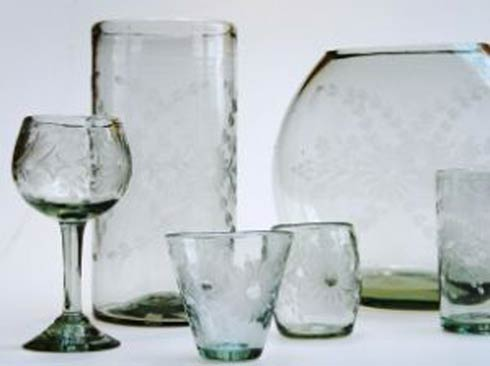 Rose Ann Hall Designs  Clear Engraved Compote $28.00