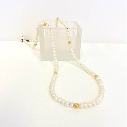 $145.00 Pearl and Gold Bead Necklace