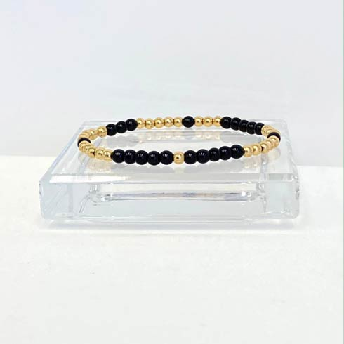 $32.00 Gold and Onyx Bead Bracelet