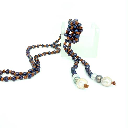 $268.00 Black Pearl and Baroque Pearl End Lariat