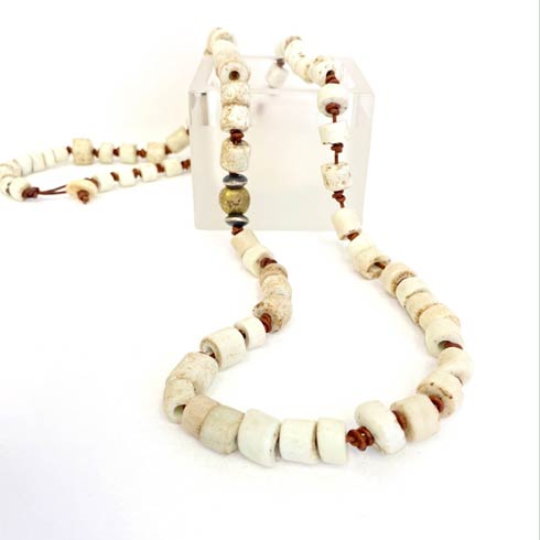 $188.00 White African Beads with Sterling Silver and Brass Necklace