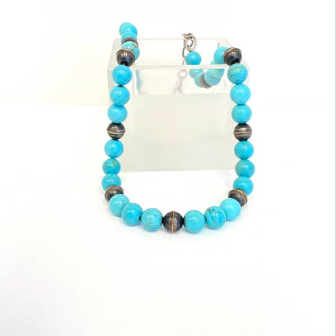 $188.00 Turquoise and Sterling Silver Navajo Pearl Necklace