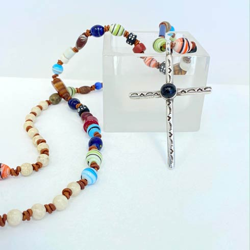 Long African Bead with Sterling Silver and Onyx Cross Necklace collection with 1 products