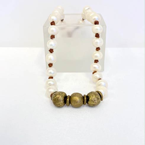 $172.00 Large Pearl and Brass Bead Choker