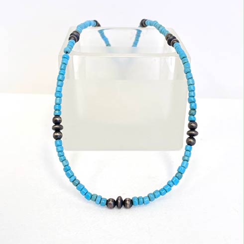 $64.00 African Turquoise Glass and Sterling Silver Navajo Pearl Necklace