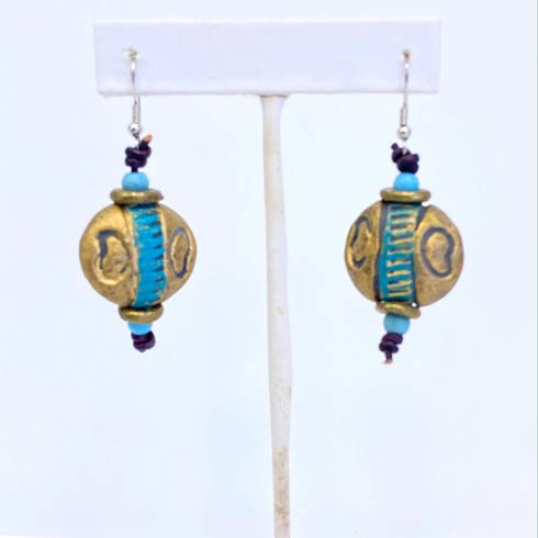 $42.00 Gold and Turquoise Bead Earrings