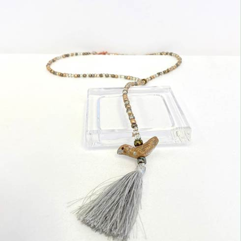 $58.00 Rosary Style Metallic Bead and Bird Tassel Necklace