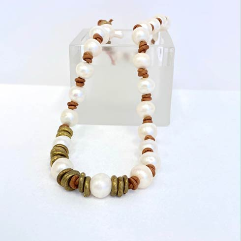 $198.00 Pearl and Gold African Spacers Necklace