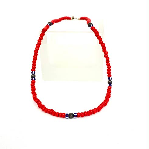 $42.00 Red Seed Bead and Sterling Silver Bead Necklace