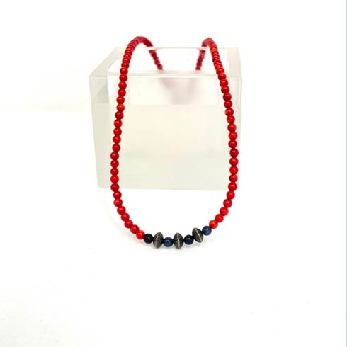 Red African Beads and Sterling Silver Navajo Pearl Necklace collection with 1 products