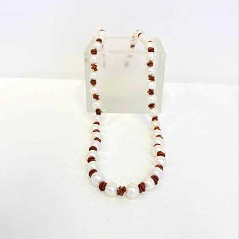 $132.00 Pearl and Brown Leather Necklace