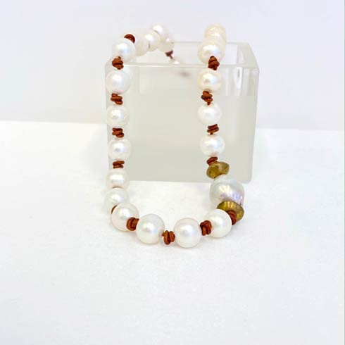 $172.00 Pearl and Brown Leather Necklace