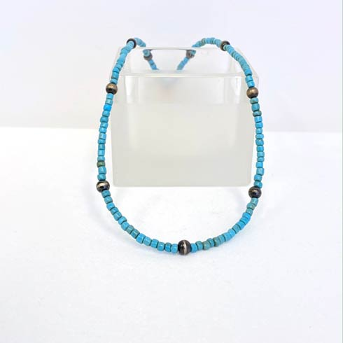 $90.00 Turquoise Bead and Navajo Pearl Choker