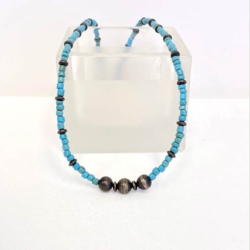$96.00 Turquoise Bead and Navajo Pearl Choker